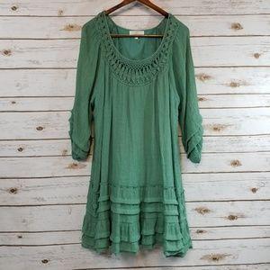 Entro   Sage Green Boho Dress